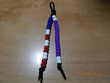 "PURPLE HEART MEDAL BEADED KEY CHAIN AMERICAN FLAG BEADS MILITARY 6"" PARACORD NEW"