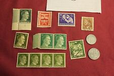 """WW2 German Third Reich """"Hitler Stamps"""" & Nazi Eagle Coins..(lot A5)"""