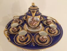 19C Royal Vienna Hand Painted and Gilt Decorated Cobalt Blue Coffee Set