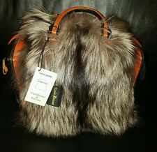 REAL FUR SILVER FOX REAL LEATHER Nicola Firenze HANDMADE HAND BAG  w
