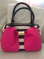 Betsey Johnson Handbag Satchel Stripes Pink Bow New Without Tag