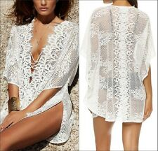 Women Sexy Beach Bikini White V Neck Bat Sleeve Cover Up Lady Summer Outer Cover
