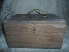 Antique Primitive Hand-Crafted Wood Hinged Lid Tool Box Chest Fishing Tackle Box