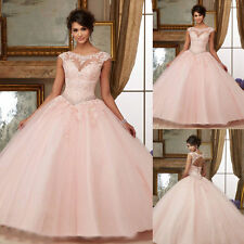 Custom Pink Ball Gown Quinceanera Dress Formal Prom Pageant Party Wedding Dress