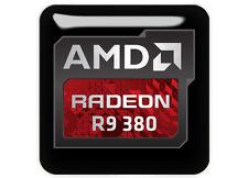 "AMD Radeon R9 380 1""x1"" Chrome Domed Case Badge / Sticker Logo"