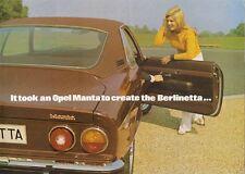 Opel Manta A Berlinetta 1900 1973 UK Market Foldout Sales Brochure