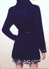 MICHAEL MICHAEL KORS Woman's Navy Blue Snap Front Belted Trench Coat Rain Jacket