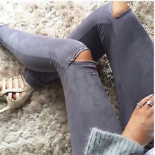 6-16 Women Skinny Pants Sexy Zipper Leggings Jeans Stretch Bodycon Slim Trousers