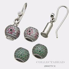 Authentic Pandora Sterling Silver Shimmering Blossom & Green Pave Earrings Set