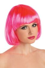 Women's Adult One Size Hot Pink Neon Bob Wig Short One Size