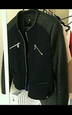 H&m navy black leather look jacket size 10 RRP  £50