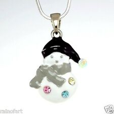 W Swarovski Crystal Snowman Winter Snow Symbol Black Cap New Pendant