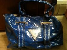 Guess Metallic Blue Faux Leather Satchel Purse
