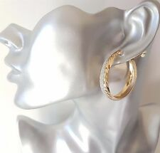 Gorgeous gold tone patterned GLITTER CLIP - ON wide hoop earrings, 4cm - 1.5""