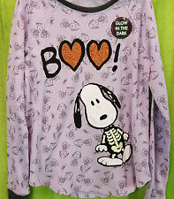 Girls Peanuts Halloween Snoopy Skeleton BOO Glow In The Dark Thermal Shirt M NWT