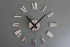 Modern Design DIY Large Wall Clock 3D Mirror Surface Sticker Home Office Decor