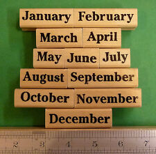 Months of the Year Rubber Stamp Set of 12, wood mounted teacher's set