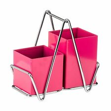 Premier Housewares Hot Pink Cutlery Caddy Metal Utensil Holder Drainer Storage