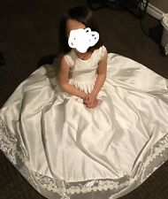 Vtg White Easter Communion Flower Girl Dress Fluffy Bow Boho Sleeveless Size 8