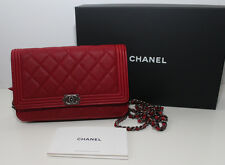 NEW CHANEL Boy Wallet On Chain Caviar Grained Calfskin Red 100 % Authentic