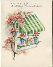 VINTAGE GREEN STIPES WINDOW AWNING PANSIES ROSE TREE GARDEN FLOWER GREETING CARD