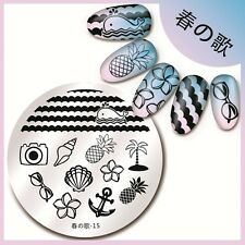 Harunouta-15 Round Nail Art Stamping Image Plate Stencil Ocean Vacation Design