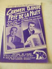Partition Carmen Danse Fête de la nuit E Duleu R Trabucco 1956