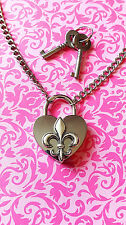 SHD BDSM Fleur De Lis Heart Padlock Necklace Permanent Day Collar Submissive NEW