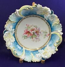 Prussia Saxe Altenburg Blue/Yellow Bowl w Floral Center (Plate 45 Gaston bk4)