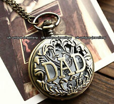 Dad Pocket Watch Necklace Chain Vintage Fathers Rare Xmas Gift For Men Him Daddy