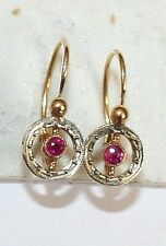 ANTIQUE VICTORIAN FRENCH 18K ROSE WHITE GOLD RUBY FINE SMALL CHILD EARRINGS 1900