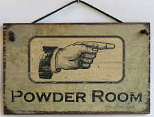 Bathroom Sign Powder Room Pointing Right Vintage Rustic Men s Women Restroom USA