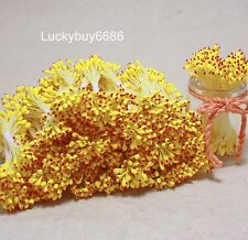 250 Yellow & Red  Double Sided Round Flower Stamen Craft Card Wedding Artificial