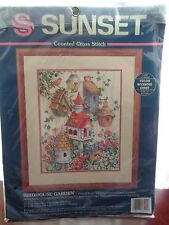 SUNSET COUNTED CROSS STITCH BIRDHOUSE GARDEN ANN CRAIG OPENED NEW KIT #13594