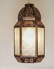 Moroccan Light Shade Lantern Style Ceiling Pendant Bronze Colour Clear Glass