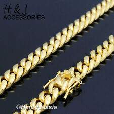 """30""""MEN Stainless Steel 7mm Gold Miami Cuban Curb Link Chain Necklace*N154"""