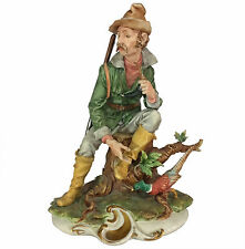 """Large 13"""" Capodimonte Figural Group of Hunter & Pheasant by Tyche Tosca"""