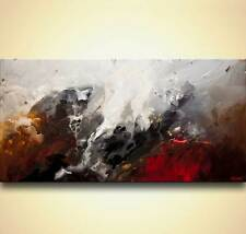 Original modern abstract art white black red abstract painting by Osnat