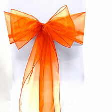 "100 Organza 8""x108"" Chair Cover Sash Bows 30 Colors Extra Wide Wedding Party"