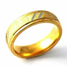 Mystic Mens Yellow Gold Filled Carve Silver Stripe Band Ring Size 12