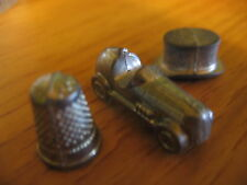 MONOPOLY Replacement Parts 3 METAL Playing Piece MARKER Hat Thimble Car
