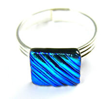 "Adjustable Ring Dichroic Glass Tiny 1/4"" 7mm Silver Blue Teal Ripple Texture"
