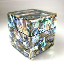 Ring Box Genuine Abalone Paua Shell with Swarovski Crystals Exquisitely Handmade