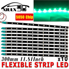 "10 X 30CM/12 LED Car Motors Truck Flexible Strip Light Waterproof 12V 12"" GREEN"