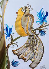 Impresión ACEO Fantasía birdie edición limitada de la pintura original de Xenia hahonina