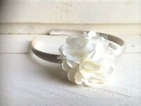 Ivory Satin Hairband Headband Alice Band with Flower Bridesmaid Flower Girl