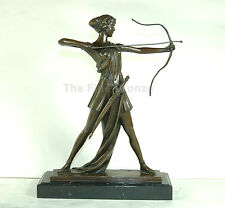 Signed: Preiss, Bronze Sculpture Lady w/bow Worrier Diana The Huntress Statue