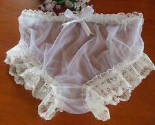 "White Sheer Nylon Chiffon Vintage Style   Panties 30""- 44"" Sissy/TV/CD"