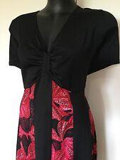 Size 22 Smart Flattering Red Floral Black Panelled Detailed Dress
