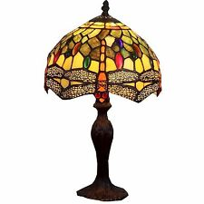 Amber and Green Dragonfly Tiffany Style Table Lamp MIN7534